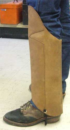 protective leather snake chaps or gaiters   chaps